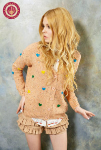 pink Cardigan - Cuddle Therapy Knit Cardigan with Multicolor Raised Stitch Hearts