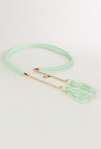 Mint Braided Belt with Chain and Tassels