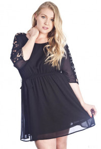cute Crochet Sleeve Blouson Dress