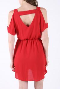 cute Cutout Shoulder V-Neck Dress