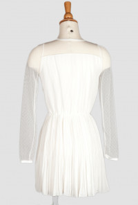 Cute White Mesh Panel Accordion Pleat Dress