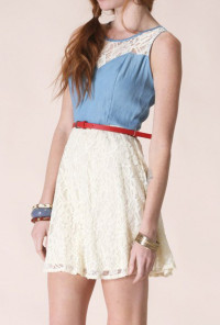 cute dress Belted Sleeveless Denim and Lace Dress