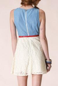 cute Denim and Lace Dress