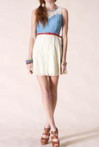 cute dress Belted Denim Lace Dress
