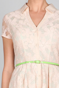 cute Floral Lace Belted Turn Collar Dress