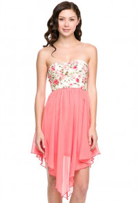 Floral Strapless Cute Dress