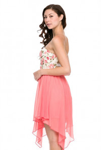 Cute Floral Strapless Dress