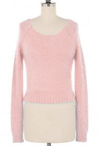 Sweaters - Clueless Generation Fuzzy Crop Sweater in Pink