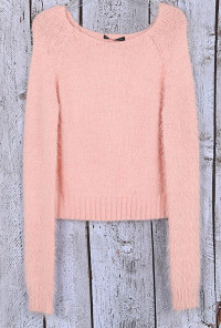 Cute Fuzzy Crop Sweater in Pink