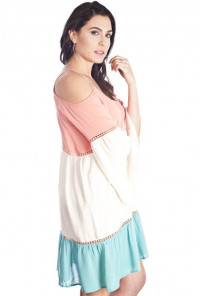 cute mint Off-the-Shoulder Color Block Dress