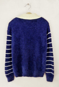 cute Navy Cat Print Fuzzy Sweater