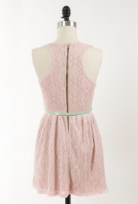 cute pink Sleeveless Lace Racerback Skater Dress
