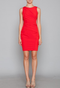 cute Red Gathered Shift Dress
