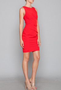 Red Gathered Shift Dress