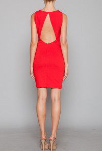 Red Gathered cute Shift Dress