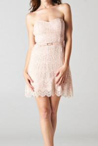 cute Strapless Lace Layered Cocktail Dress