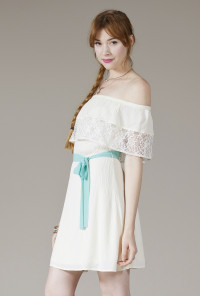 cute white Off the Shoulder Lace Dress