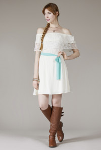 cute white Angelic Presence Off the Shoulder Lace Dress