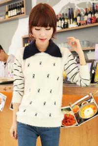 Cute Sweaters -Kitten Academy Cat Fuzzy Sweater in White