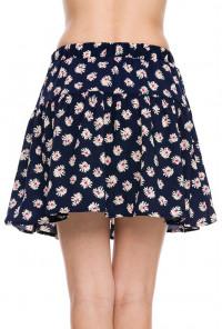 Floral Print Skater Skirt in Navy