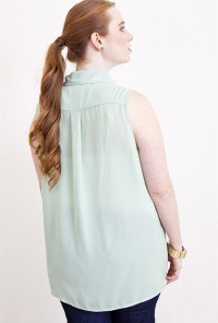 Plus Size Mint Lace Sleeveless Blouse