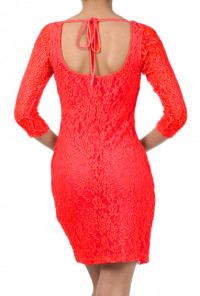Red 3/4 Sleeve Lace Bodycon Dress