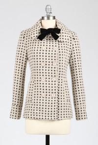 Dot Print Coat with Velvet Neck Tie