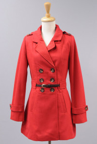 Double Breasted Belted Waist Peacoat in Red