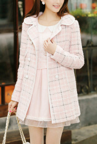 Double Breasted Cloverleaf Lapel Plaid Coat in Pink
