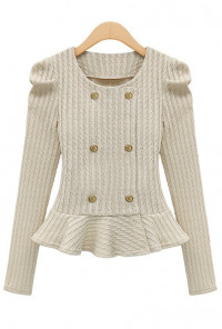 Double Breasted Jacquard Weave Peplum Jacket in Ivory
