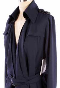 Draped Open Front Navy Trench Jacket