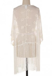Tassel Lace Cardigan in Ivory