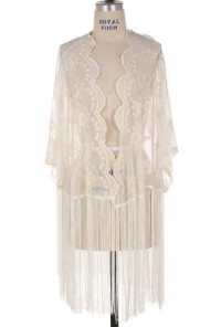 Fringe Lace Cardigan in Ivory
