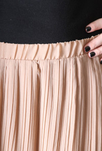 Accordion Pleat Midi Skirt in Almond