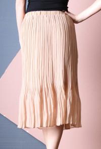 Accordion Pleat Midi Skirt in Almond