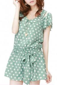 mint green Polka Dot Print Flutter Sleeve Romper