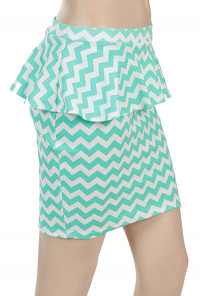 Mint Chevron Print Peplum Skirt