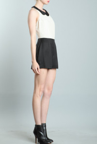 Lace Peter Pan Collar Romper in Cream/Black