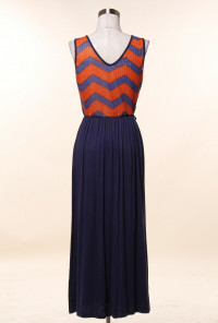 Chevron and Solid Pattern Block Maxi Dress in Rust/Navy