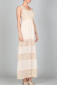 Lace Tiered Maxi Dress in Cream