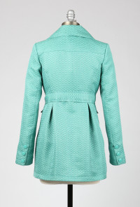 Fan Pattern Tie Waist Aqua Coat