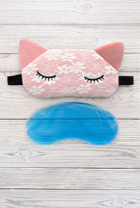 cat sleeping eye mask pink