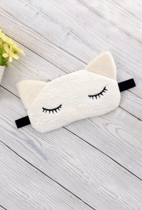 cat sleeping eye mask white