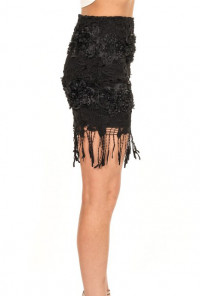 Black Flapper Fringe Lace Skirt