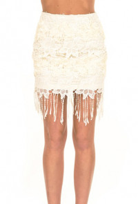Cream Flapper Soiree Fringe Lace Skirt