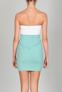 Strapless Plunge Sweetheart Color block Dress