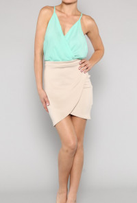 Surplice Color Block Mini Dress in Mint/Beige