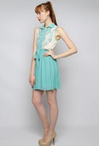 Lace Print Bodice Sleeveless Twofer Dress in Dusty Jade