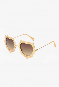 French Vintage Lace Rim Heart Sunglasses Gold