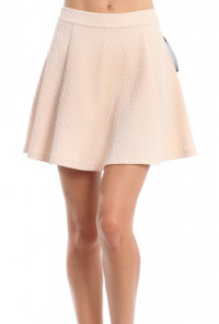 Textured High Waist Skater Mini Skirt in Ivory